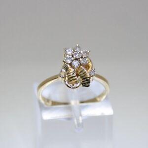 0-20-ctw-Round-Diamonds-Flower-Shape-18K-Yellow-Gold-Ring-Size-5