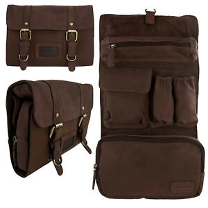 Mens Ladies Soft Leather Canvas Hanging Wash Toiletry