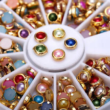 Mixed Square Round Multicolor Nail Art Tips Decoration Glitter Rhinestones Wheel