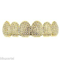 14k Gold Plated Micro Pave Grillz Iced-out Top Upper Teeth Micropave Mouth Grill