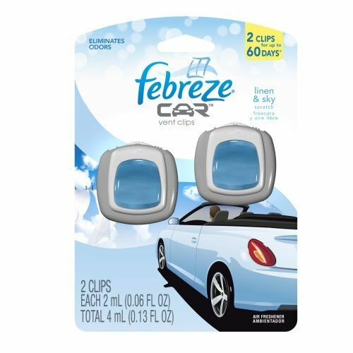Febreze Car Vent Clips Linen & Sky Air Freshener, 2 Count, 0.13 Ounce- 16 Pieces