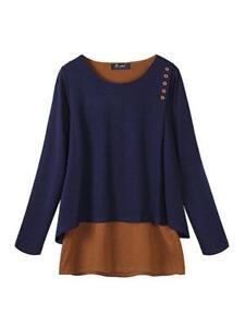 69dda1a5810 PopJulia - Plus Size Buttoned H-line Paneled Crew Neck Casual Tunic ...