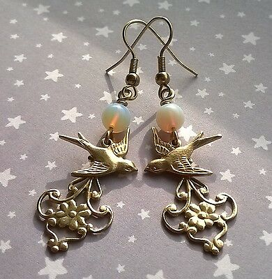 Vintage Nouveau Style Swallow Bird Filigree Opalite Drop Earrings Gold Brass