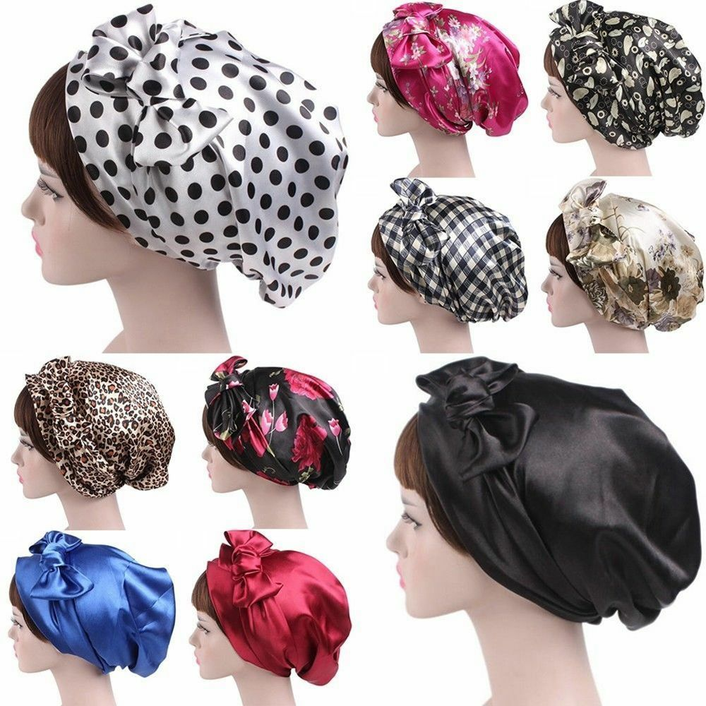 Women's Satin Silk Bow Headscarf Turban Hijab Soft Sleeping