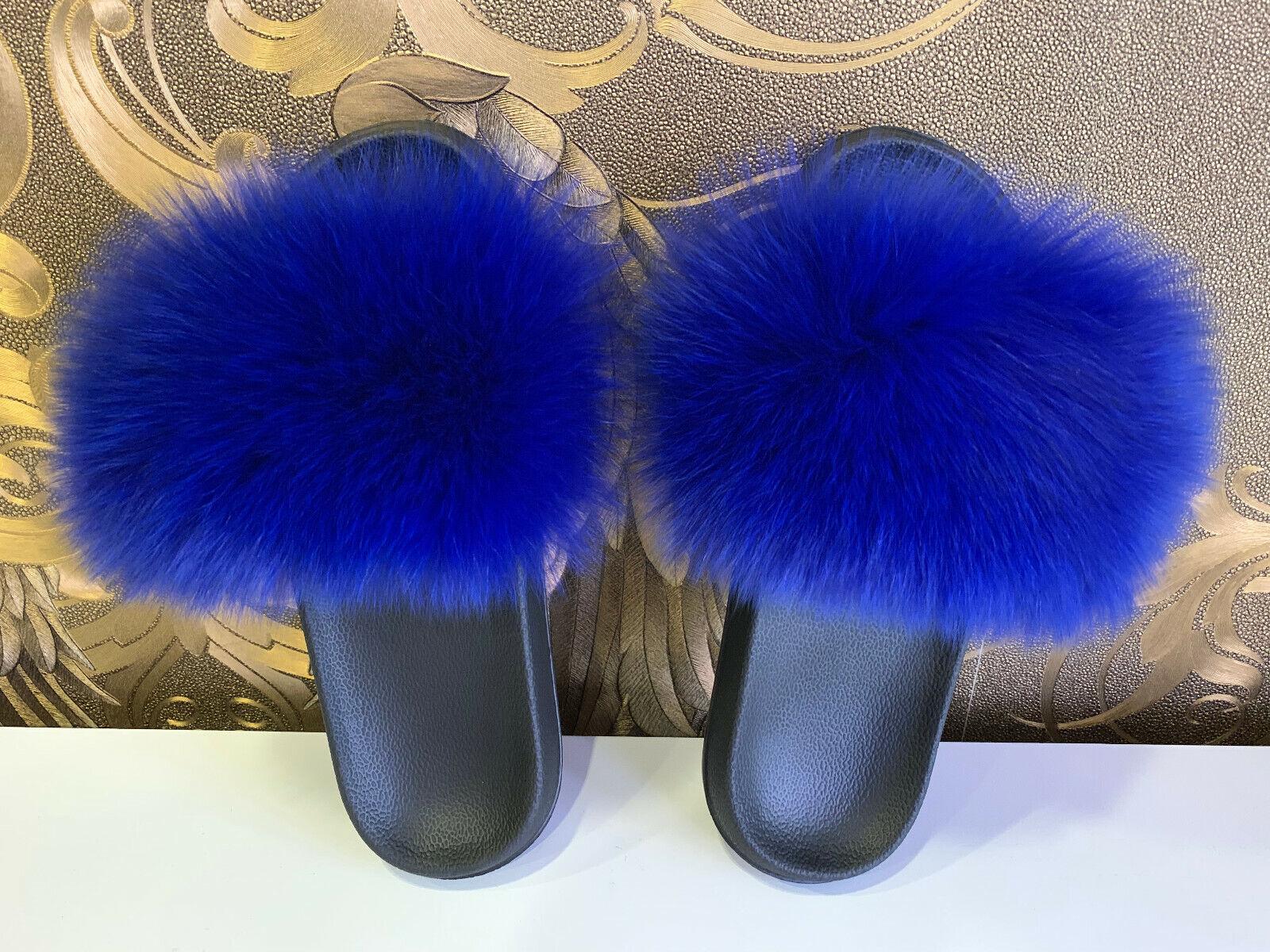 Pälstofflor pälstofflor pälstofflor pälstofflor Furskor pälsskor med Fox Slippers BL  fashional butik till salu