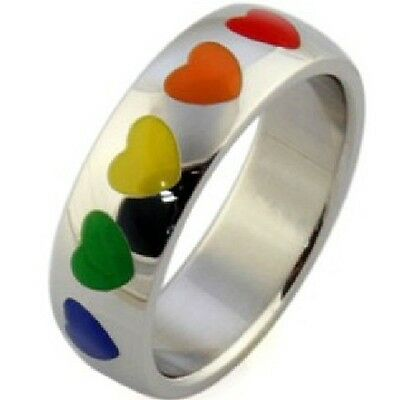 Size 6-12 Stainless Steel Ring Jewelry Rainbow Heart Candy Color Lesbian Gay