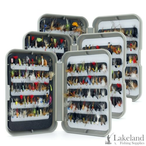 G Fly Box Mixed Trout Fishing Flies Wet Dry Nymph Buzzers Size 8 10 12 14 16