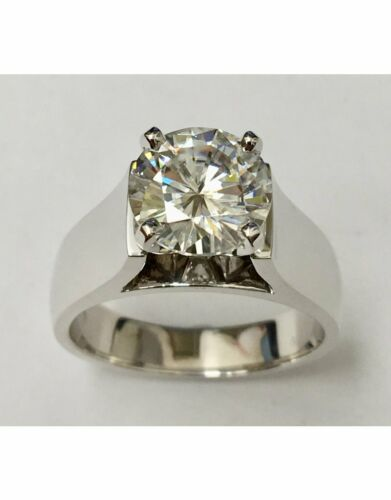Details about  /3 Ct Moissanite Solitaire Men/'s Engagement Ring 14Kt White Gold Over Silver HY-2
