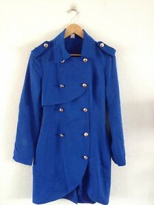 Lady-Angel-Chinese-Label-Coat-Size-XL-Blue-Button-Up-lt-R12476