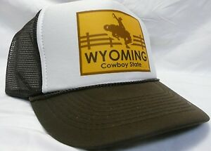 Details about Wyoming Trucker Hat the Cowboy State mesh Hat Snap Back Hat  brown adjustable