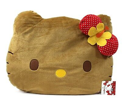 """Brand New 18"""" Brown Face Hello Kitty Hibiscus Dot Face Cushion"""
