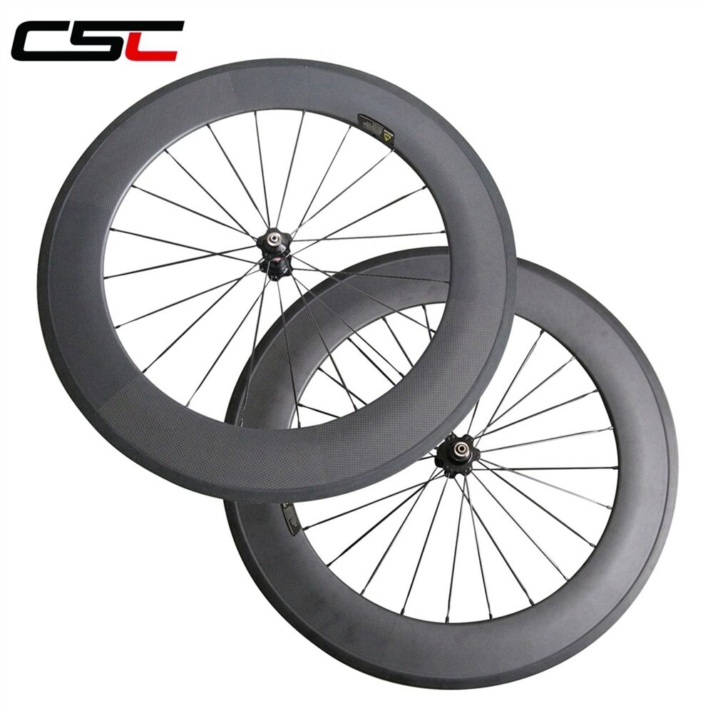 CSC 88mm Clincher carbon road Racing wheels with Basalt brake surface 23mm wide