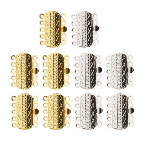 10Packs 5 STRAND PUSH SLIDE LOCK CLASPS Bracelet Necklace DIY Jewelry Making