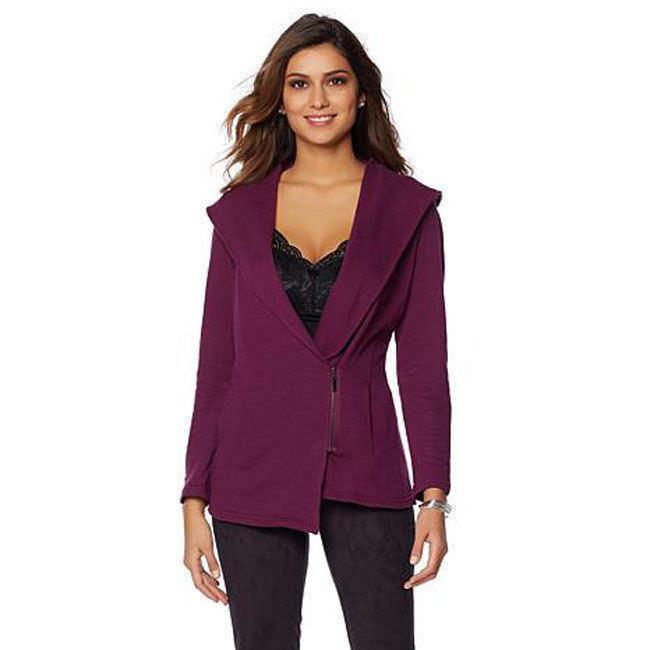 RHONDA SHEAR Size L Zip Front Long -Sleeve Cardigan EGGPLANT