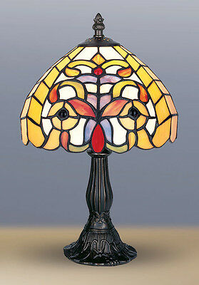 TIFFANY STYLE UNIQUE STAINED GLASS DESK TABLE LAMP -8.26'' WIDE