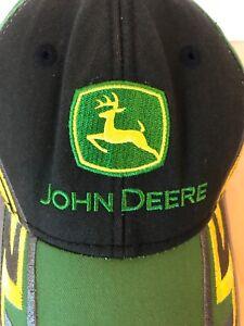 John Deere Baseball Hat Cap Yellow Logo Embroidered Strapback Adjustable