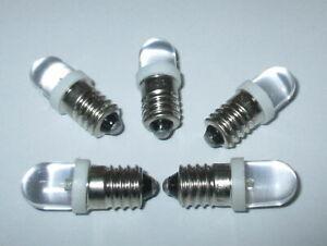 LED-Schraubbirne-E10-3-5-4-5Volt-kaltweiss-fuer-Krippen-Puppenhaus-5-Stueck-NEU