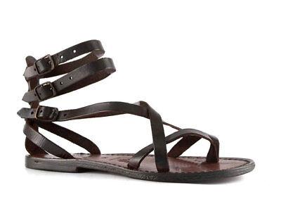Handmade women's gladiators sandals in dark brown genuine leather Made in Italy | eBay