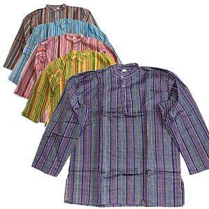 Camisa-Pescador-fischershirt-Kurta-Talla-L-HIPPIE-Casual-algodon-GOA