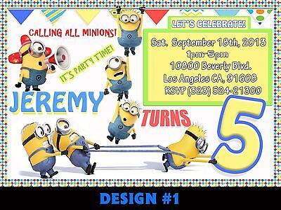 12 Printed Custom Despicable Me Minion Birthday Card Invitation  w/Envelopes