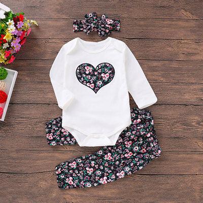 Newborn Baby Girl Floral Romper Bodysuit Jumpsuit Long Sleeve Outfit Clothes Set