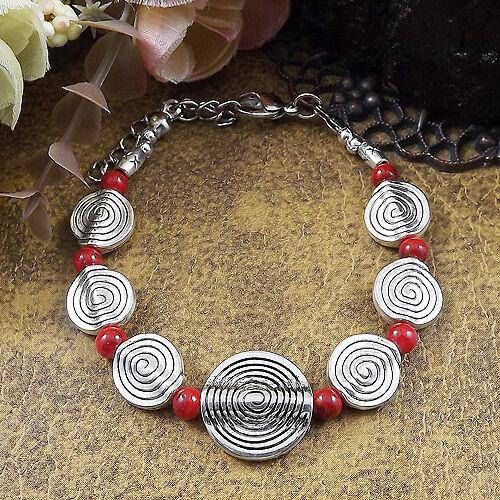 Hot Livraison gratuite NEW Tibet silver Multicolor jade turquoise bead bracelet S87