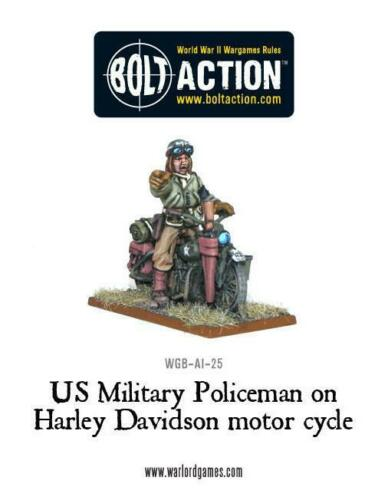 Warlord Games US Military Policeman On Harley Davidson Motor Cycle Mp Boltaction