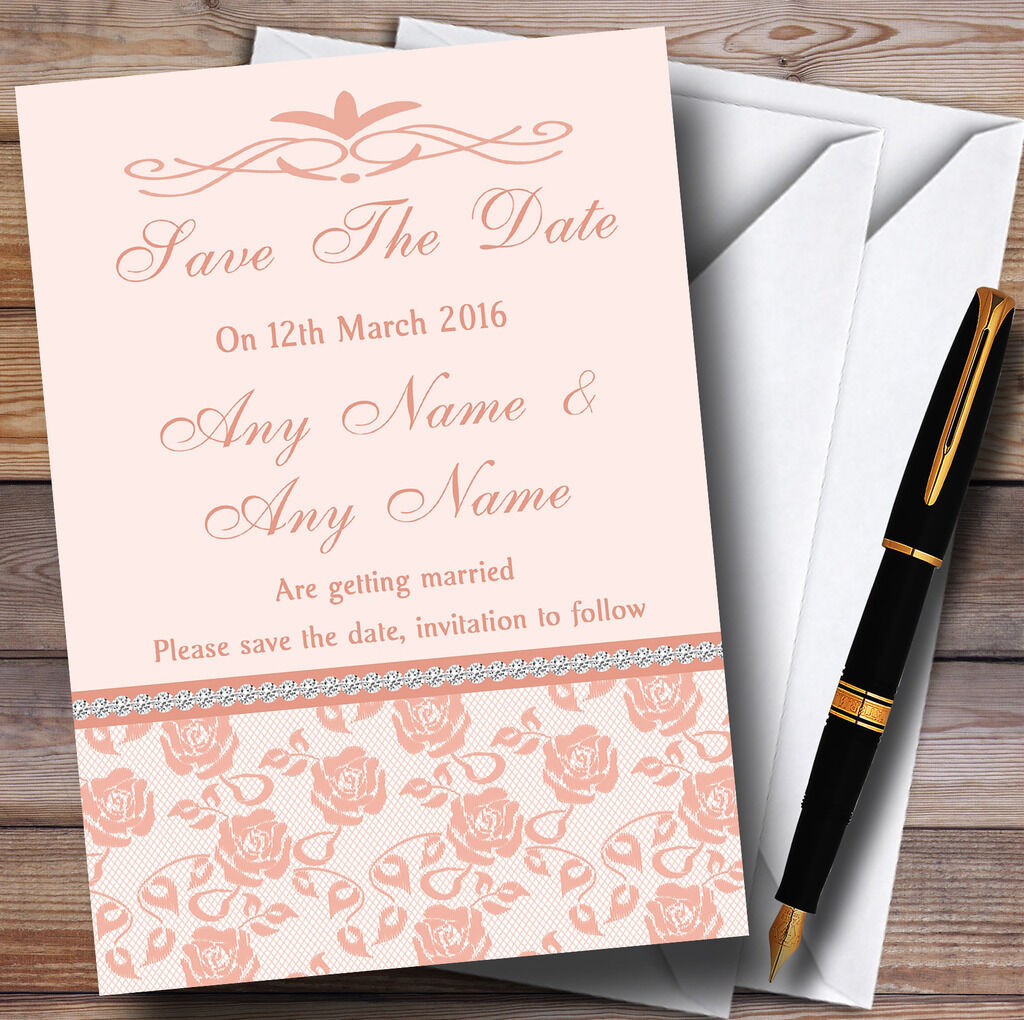 Pretty floral floral Pretty corail pâle strass mariage Personnalisé Cartes save the date b3a3b4