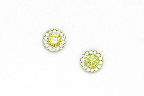 14k Yellow Gold Halo Stud Earrings with Screw  Back