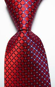 New-Classic-Checks-Red-Blue-White-JACQUARD-WOVEN-100-Silk-Men-039-s-Tie-Necktie
