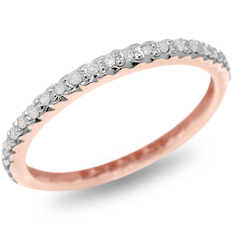 Natural 0.20ct Diamond 9K 9ct 375 Solid pink gold Never Ending Ring