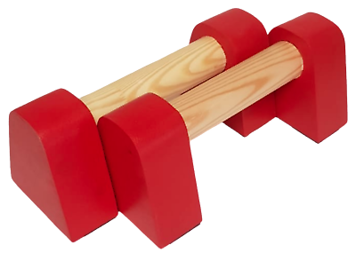 Red Micro Wooden Parallette Bars Gymnastics Yoga Push Up  22x10x9cm 35mm Bar