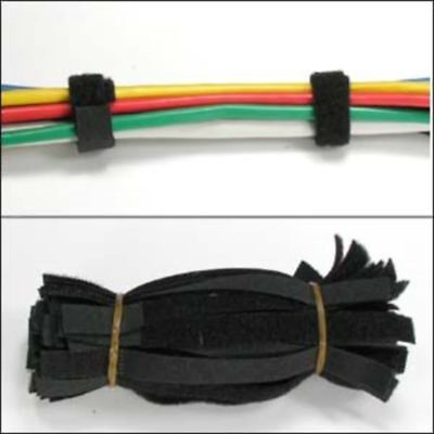 """50pcs 12/"""" inch Reusable Straps Wire Wrap Cable Holder Ties Cord Hook Loop Black"""