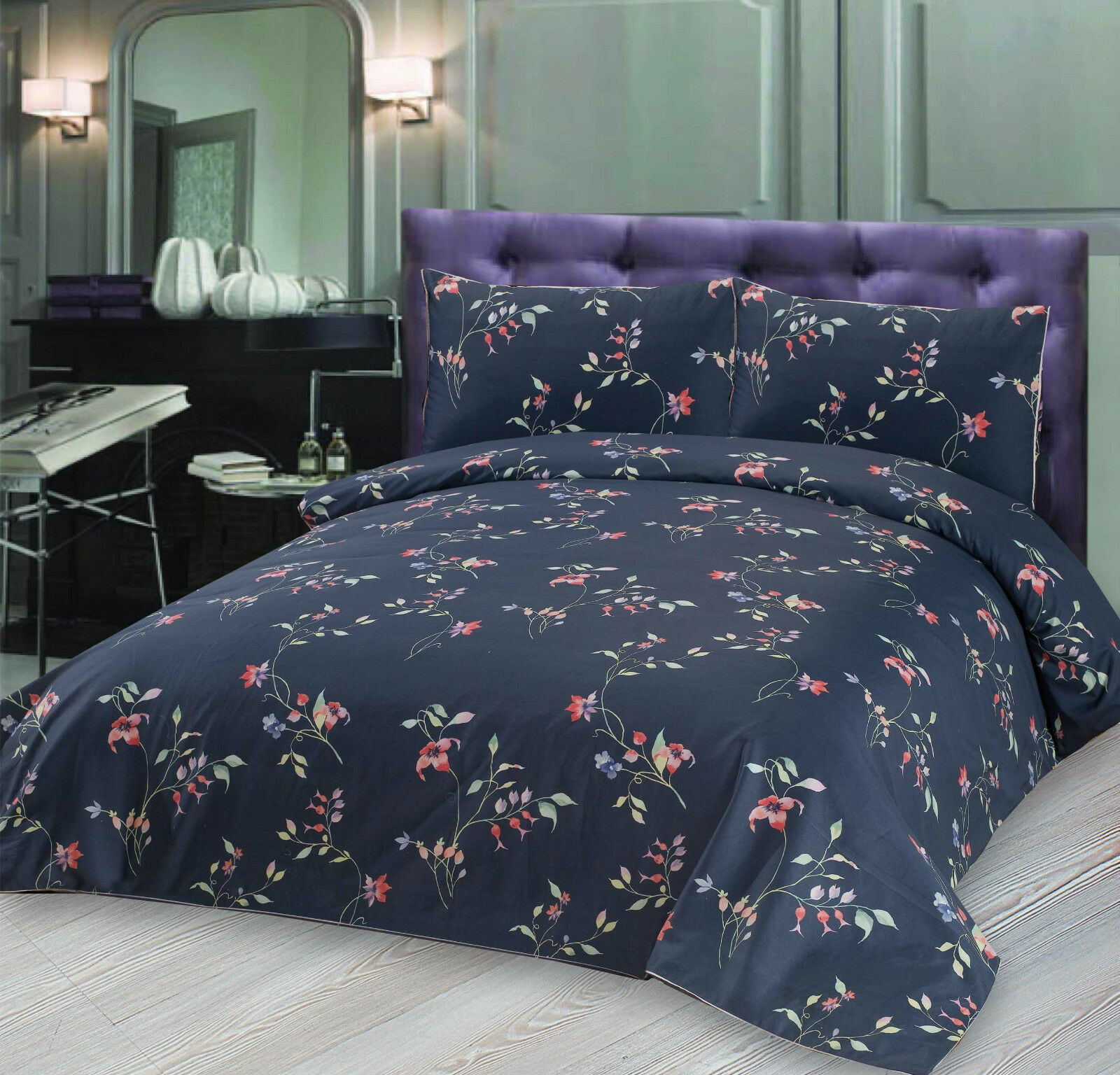 Blau Flowers Printed Premium 300TC 100% Cotton Sateen Duvet Cover Bed Set