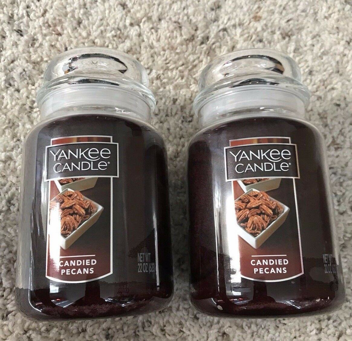 CANDIED PECANS   SET OF 2- NEW YANKEE CANDLE LARGE JARS 22OZ