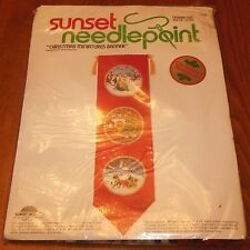 Sunset Needlepoint Christmas Miniatures Banner Kit 6060 Rienstra Vtg 1978 Sealed