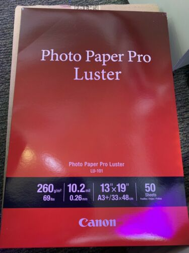 """Canon Photo Paper Pro Luster brand new 13/"""" x 19/"""" 100 Sheets X2 50 Sheets"""