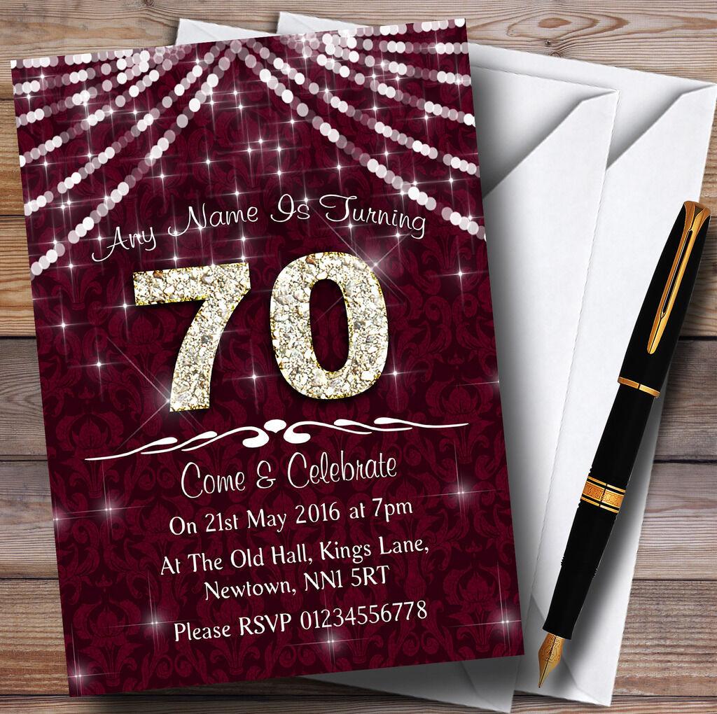 70º Claret & & & bianca Bling Sparkle Festa di Compleanno Inviti Personalizzati ee25b9