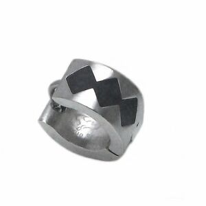 Single-Creole-13-mm-x-7-mm-Edelstahl-mit-schwarzen-Lack