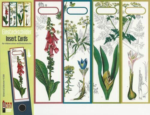 4 Einsteckschilder Ordnerrücken Blume Pflanze Garten Einsteck Ordner Deko IC26
