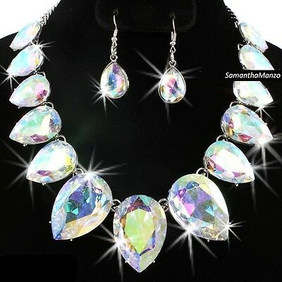 Aurora Borealis Rainbow Cz Crystal Tennis Statement Necklace Dangle Earrings