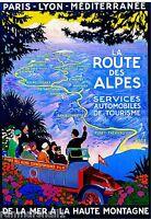 La Route des Alpes France French Vintage European Travel Poster Advertisement