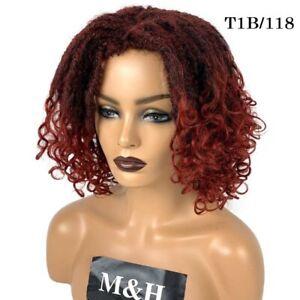 Burgundy Faux Locs Crochet Wig Goddess Curly Dreadlock Braided Twisted Hair Wigs