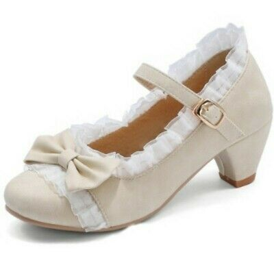 Details about  /Women/'s Lolita Bowknot Kitten Block Heel Mary Janes Princess Shoes Pumps 34-48 D