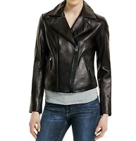 MICHAEL KORS Motorcycle Leather Jacket with Asymmetric Zip-front