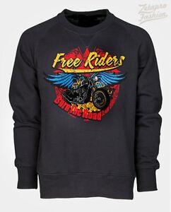 Felpa-route-66-biker-custom-moto-chopper-harley-stampa-teschio-free-riders