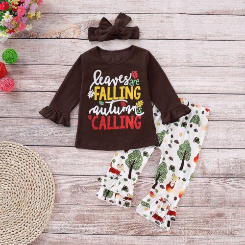 3Pcs Toddler Kids Baby Girl Outfits Clothes T-shirt Tops+Long Pants Leggings Set