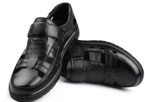 Men/'s Casual respirant sandales fermer Toe en Cuir PU Creux Out Pêcheur Chaussures