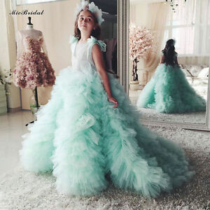 c4c49bfd3ce Mint Green Ball Gown Flower Girl Dress For Weddings Party Communion ...