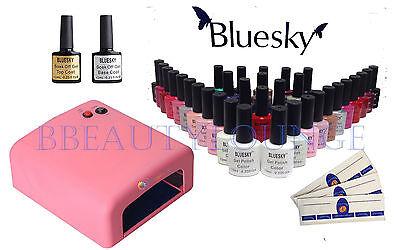 Bluesky Nail Gel Polish Starter Kit Pink 36W UV Lamp +3 Colours EXTRA FREE GIFT!